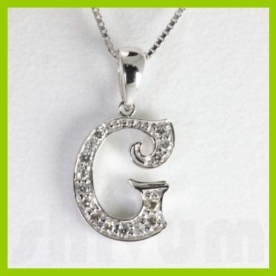 "Genuine 0.14 ctw Letter G Diamond Necklace 16"" 14kt"