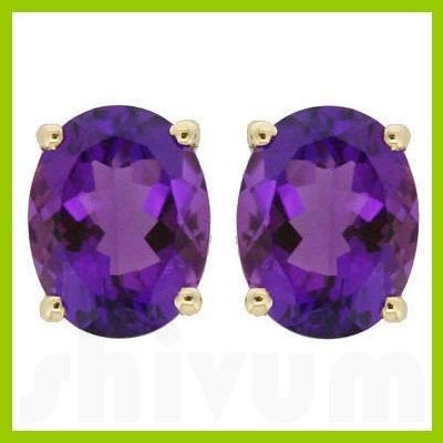 Genuine 8x6mm Oval Amethyst Stud Earrings 14kt