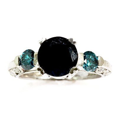Genuine Dark Blue Sapphire Diamond 3.18 ctw Ring 10k