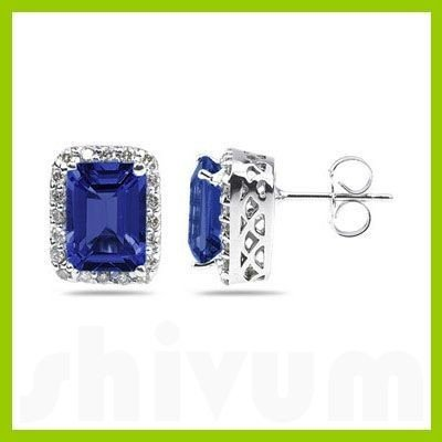Genuine 3.40 ctw Sapphire & Diamond Earrings 14kt
