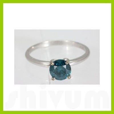Genuine 3.00 ctw Blue Diamond Solitaire Ring 14kt