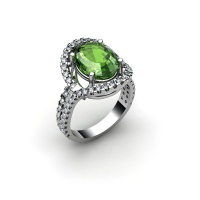Green Tourmaline 4.62 ctw & Diamond Ring 18kt W/Y  Gold