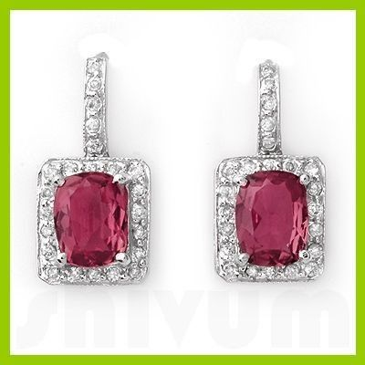 Genuine 3.55 ctw Pink Tourmaline Diamond Earrings 14kt