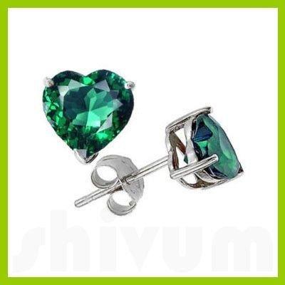 Genuine 3.0 ctw Heart Emerald Stud Earrings 14kt