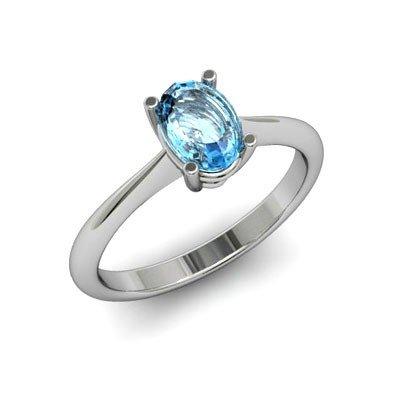 Genuine 1.75 ctw Aqua Marine Ring 14k W/Y Gold