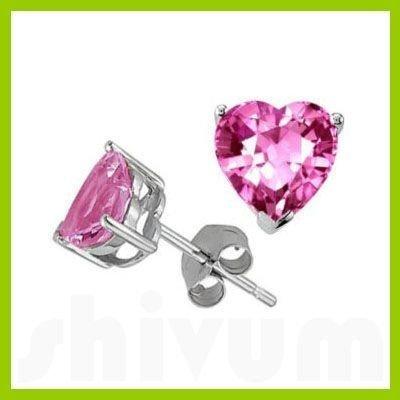 Genuine 3.0 ctw Heart Pink Sapphire Stud Earrings 14kt