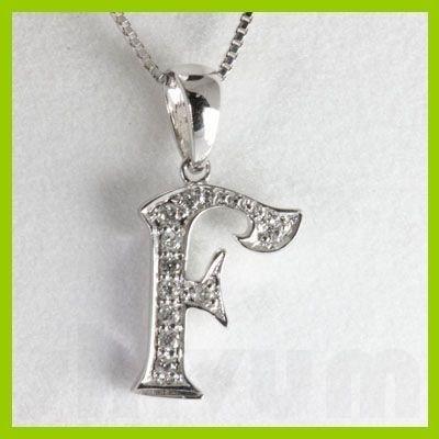"Genuine 0.09 ctw Letter F Diamond Necklace 16"" 14kt"