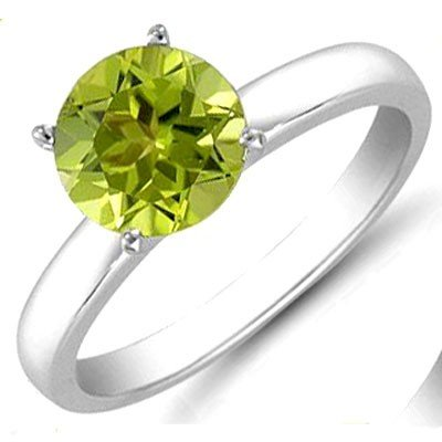 Peridot 1.25 ctw Solitaire Ring 14kt W/Y  Gold