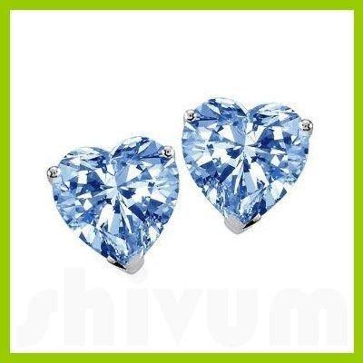 Genuine 3.0 ctw Heart Aquamarine Stud Earrings 14kt
