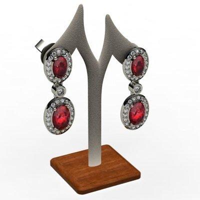 Ruby 4.12 ctw Diamond Dangling Earring 18k W/Y Gold