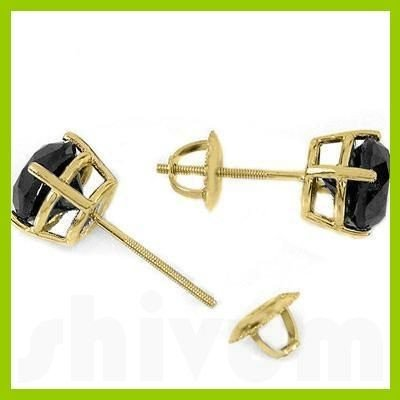 Genuine 2.0 ctw Black Diamond Stud Earrings 14kt