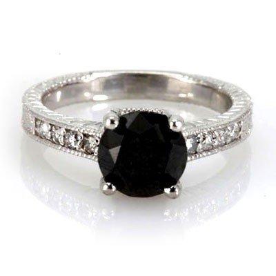 Genuine Black Diamond 2.94 ctw Diamond Ring 18k W/Y Gol