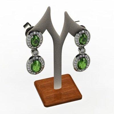 Tourmaline 3.60ctw Diamond Dangling Earring 14k WY Gold