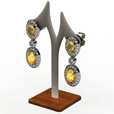 Citrine 3.40 ctw Diamond Dangling Earring 18k W/Y Gold