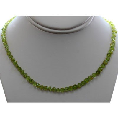 Natural Peridot Single Row Necklace with clasp