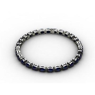 Genuine 27.00 Sapphire Bracelet 18k W/Y Gold 9.9g