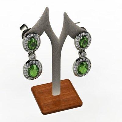 Emerald 3.54 ctw Diamond Dangling Earring 18k W/Y Gold