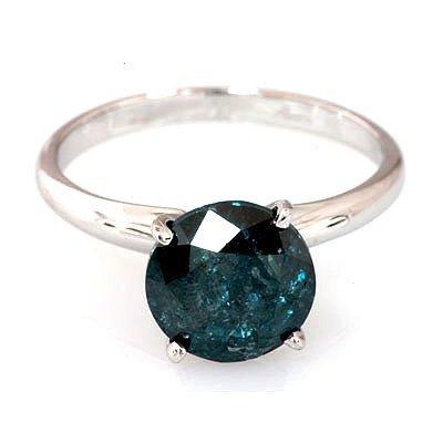 Genuine 1.52 ctw Blue Diamond Ring 14k W/Y Gold