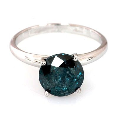 Genuine 1.33 ctw Blue Diamond Ring 14k W/Y Gold