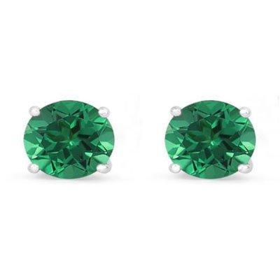 Genuine 5.0 ctw Emerald Stud Earring 14k 1.10g
