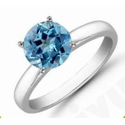 Topaz 1.0 ctw Solitaire Ring 14kt W/Y  Gold