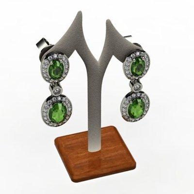 Tourmaline 3.60ctw Diamond Dangling Earring 18k WY Gold
