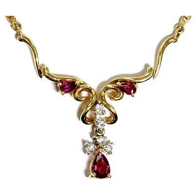 Genuine Diamond Ruby Fashion Necklace 14k Yellow Gold