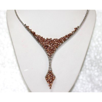 Genuine 4.48 ctw Diamond Necklace 18kt 2 Tone Gold