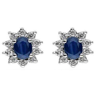 Genuine 1.50 ctw Sapphire Earring 14k 1.9g