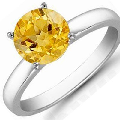 Citrine 1.80 ctw Solitaire Ring 14kt W/Y  Gold
