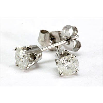 Genuine Stud Earring 0.50ctw 14k White Gold G-H/S-I