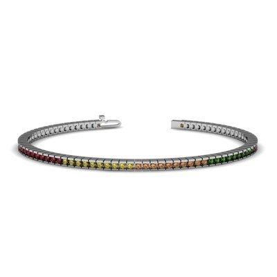 4.90 ctw Multi Color Sapphire  Rainbow Bracelet  14kt