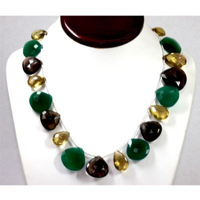 377.16 ctw Nat. Emerald Amethyst Citrine Necklace