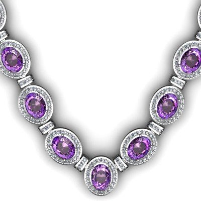 36.10 ctw Amethyst Diamond Necklace 925 Sterling Silver
