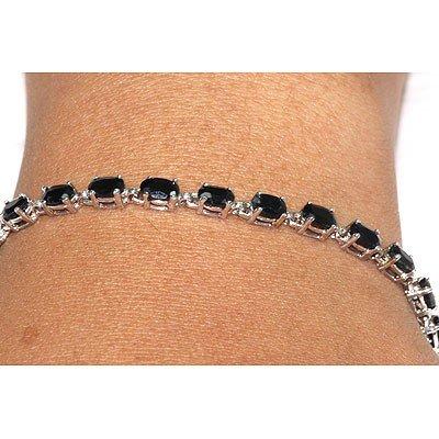 Genuine Dark Sapphire 8.05Ctw Bracelet 10K