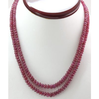Natural Ruby Round  227.35 CTS.Beads Necklace w/brass c