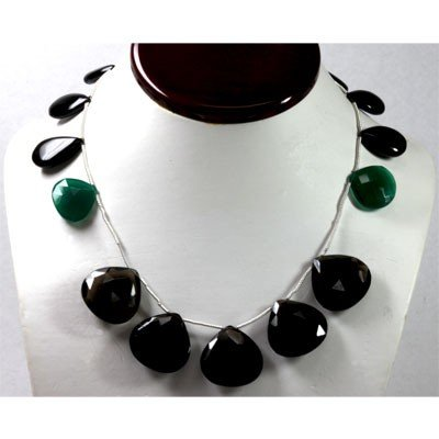 317.44 ctw Natural Black Onyx Emerald Amethyst Necklace