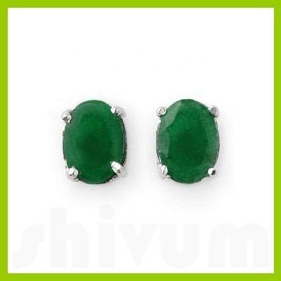 Genuine 2.52 ctw Emerald Oval Cut Stud Earrings 14kt