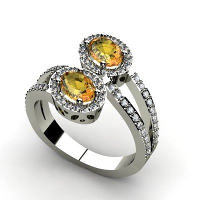 Citrine 1.23 ctw & Diamond Ring 14kt W/Y  Gold