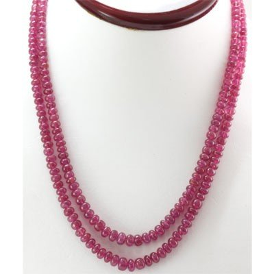 Natural Ruby Round  Beads 251.18 CTS. Necklace w/brass