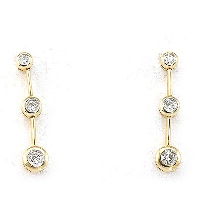 Genuine 0.32 ctw Diamond 3 Raw Dangling Earring 14k