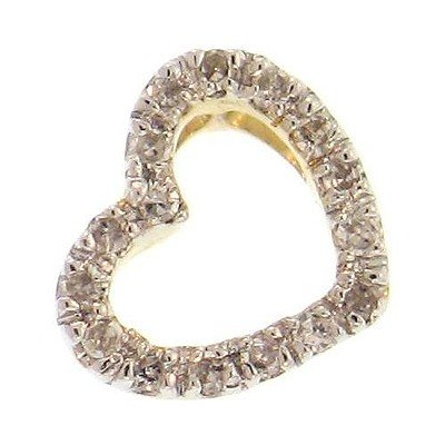 "Genuine 14k Heart Pendant 16 Diamonds 16"" Necklace"