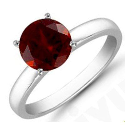 Garnet 1.0 ctw Solitaire Ring 14kt W/Y  Gold