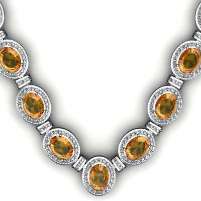 36.10 ctw Citrine Diamond Necklace 925 Sterling Silver