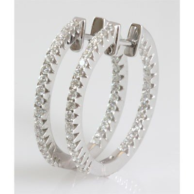 Genuine 0.90 ctw Diamond Round Cut Hoop Earring 18k
