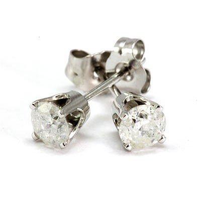 Genuine Stud Earring 0.63ctw 14k White Gold G-H/SI-I