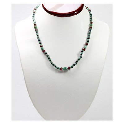 Natural 90.51 ctw Emerald Ruby Sapphire Bead Necklace