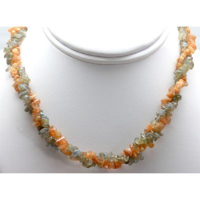 Mix Semi Precious Stone Double Rows Necklace with clasp