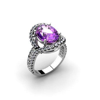 Amethyst 4.33 ctw & Diamond Ring 18kt W/Y  Gold