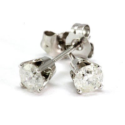 Genuine Stud Earring 0.63ctw 14k White Gold G-H/SI-I
